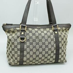 GUCCI GG Pattern Canvas Leather Shoulder Bag Purse Blown 272399 498879