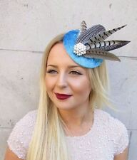 Light Blue Brown Pheasant Statement Feather Fascinator Hair Clip Hat Races 2550