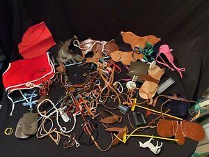 *Lg Lot 80s Horse Accessories Sindy Barbie Breyer Reins Saddle Crop Boot Parts +