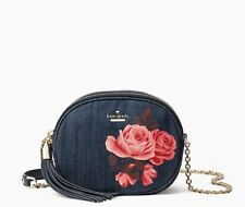 NEW Kate Spade Emerson Place Rose Denim Tinley Small Leather Crossbody Bag $248