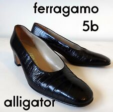 Salvatore Ferragamo 5b alligator crocodile embossed black heel round toe shiny