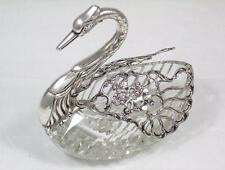 "Vintage 1957 H'm Sterling Silver & Cut Crystal 5 1/4"" Swan Shape Trinket Dish"