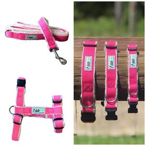 Hemp Dog Harness, Collar, and Leash Set - Pink S, M, L