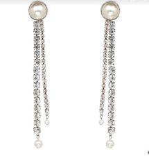 ZARA Boucles d'oreilles longues perles et strass argentées Neuves Sold out