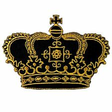 Crown Imperial King Queen Embroidered Iron on Patch # Gold