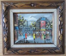Paris Scene master Landscape Signed Vintage Original Acrylic CHRISTMAS ART frame