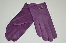 COACH NWOT WOMENS PURPLE SUEDE & LEATHER CAMPBELL METAL BUCKLE GLOVES 7.5 $148