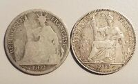 1902 & 1913 French Indo China Chine, Silver 10 Centimes, KM# 9, Lot of (2) Coins