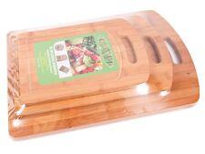 3 planches à découper poignée Planche en bois bambou écologique cuisine Set 1