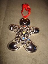 Lenox Sparkle And Scroll Multi Crystal Silver Plate Gingerbread Man Ornament
