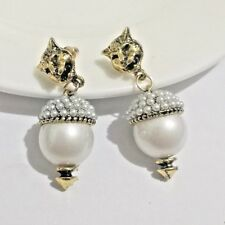 WHITE ANTIQUED GOLD LION LEOPARD Pearl Bead Encrusted Drop Dangle Stud Earring