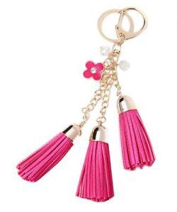 Women Flower Tassel Charm Key Chain Ring Handbag Bag Accessory Pendant Keyring
