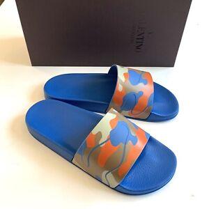 NEW Valentino Men's Camouflage Pool Slide Sandals 42EU Blue with Orange Pattern