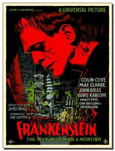 Frankenstein Metal Sign - Carl Laemmle's Classic Horror Movie poster retro print