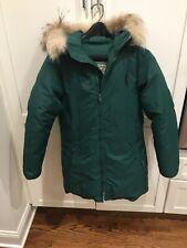 Vintage LL Bean Goose Down Green Parka Fur Hooded Jacket Womens Sz Medium