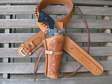 "Gun Belt Combo - .22 Caliber - Tooled Holster - Natural - Leather - 34"" to 52"""