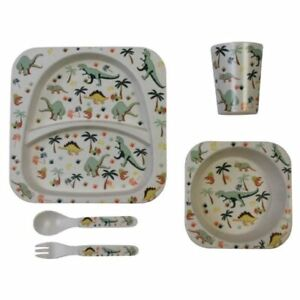 Powell Craft Melamine Toddler Dining Set - beaker, bowl, plate - Dinosaur