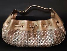 Burberry Gold Metallic Super Nova Check PVC and Leather Hobo Bag Handbag
