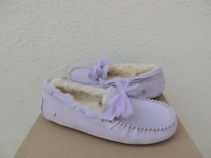 UGG LAVENDER FOG DAKOTA TULLE BOW MOCCASIN SLIPPERS, WOMEN US 10/ EUR 41 ~ NIB