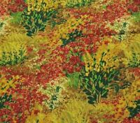 """32"""" Field of Dreams Auntic Nan Spectrix Green Red Brown Gold Floral Grasses"""
