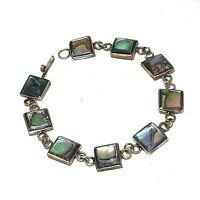 "Vintage Alpaca Mexico Silver Abalone Bracelet Square Panel Link Shell 7 1/2"""