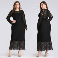 Ever-pretty Plus Size Black Lace Cocktail Party Dresses Evening Prom Gowns Maxi