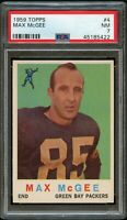 1959 Topps FB Card # 4 Max McGee Green Bay Packers ROOKIE CARD PSA NM 7 !!!!