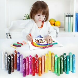 Washable 24 Pack Tempera Paint Sticks, 18 Solid with 6 Glitter Crayons