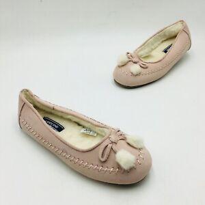 Lands' End Women's Suede Ballet Slipper Size 9 Washed Pink