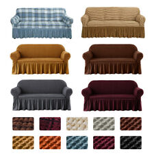 1 2 3 4 Seater Stretch Seersucker Sofa Couch Cover Lattice Slipcover w/ Skirt
