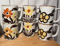 Vintage 1970s Retro Stoneware Set Of 6 Coffee Mugs Cups Floral Korea 8oz Boho
