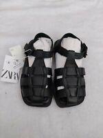 Zara Flat Cage Sandals Shoes Black Leather Kids UK Size 12 Eu 30