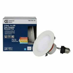 Commercial Electric Recessed Trim 4-Inch Integrated LED Matte White (2-Pack)