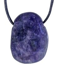 Iolite Sapphire Water Pendant with Leather Strap Brick Drop Gemstone Drilled