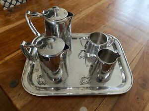 """Old Hall"" (Robert Welch) - Stainless Steel - Warwick Battered Steel Tea Set"