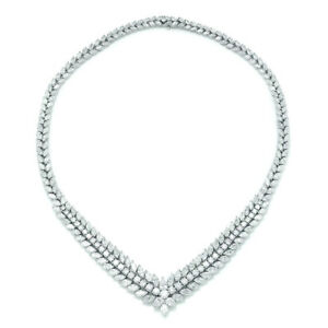 Diamond Tennis Necklace in Platinum 34.13ctw V Shaped Estate