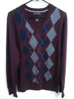 Banana Republic Extra Fine Merino Mens Medium Maroon/Burgundy V Neck Sweater