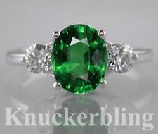 Emerald Engagement Natural White Gold Fine Gemstone Rings