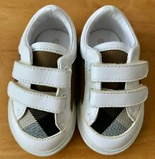 Burberry Baby House check and Leather Sneakers, Color Optic White, Size 17, New