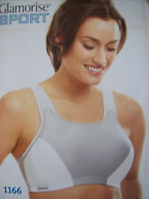Bra Glamorise 1166 Double Layer Magic Lift Sports Bra Grey & White 38 DD New