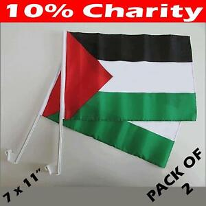 2 x Palestine Car Window Flags Premium Polyester Hand Flag 10% Charity