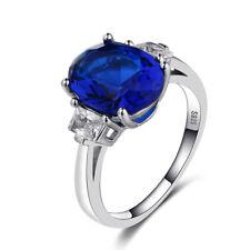 Fashion 925 Silver Oval Sapphire White Topaz Birthstone Wedding Princess Rings!!