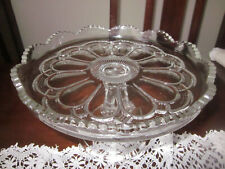 GORGEOUS VINTAGE DEPRESSION GLASS CAKE STAND US GLASS CO GALLOWAY