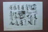 AR88) Architektur Danzig 1888 Geländerstein Beischläge Polen Holzstich 27x38cm
