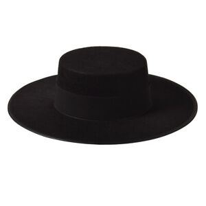 Vintage Men's Black Vendetta Cosplay Costume Hat Zorro Hat Cospaly Hat