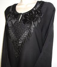 New Black Abaya Jilbab Dress w/ Floral Embroidery & Rhinestones Black 58