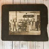 Occupational Photo Butcher Shop Antique 1914  6 x 8 Sepia