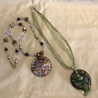 Pair Of Murano Style Necklaces Glass Beaded Two 2 Gorgeous
