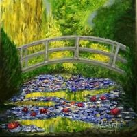 "Monet Japanese Footbridge at Giverny Impressionism signed ""Robert"" COA"