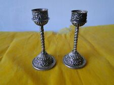 SMALL CANDLE STICKS, STERLING SILVER, UNMARKED SOUTH AMERICAN, C-1900